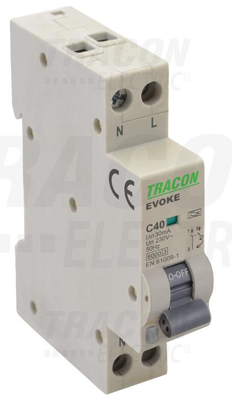 EVOKEC2003 Kombinált védőkapcsoló, elektronikus, 2P, 1 modul, C kar.