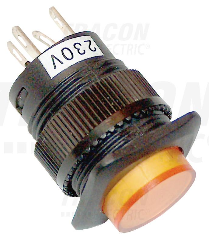 MNK-006Y Mini jelzőlámpás nyomókapcsoló sárga