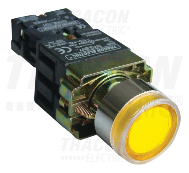 NYGBW3571S Világító nyomógomb, fémalapra szerelt, előtét, sárga, glim