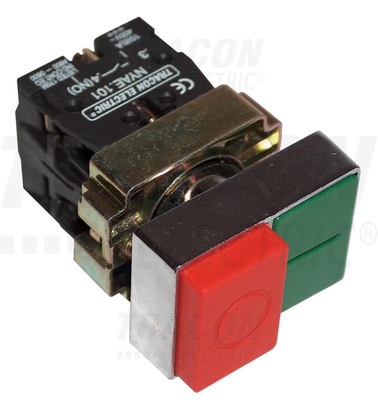 NYKK8425T Tokozott kettős BE-KI nyomógomb, fémalap, zöld+piros kiálló