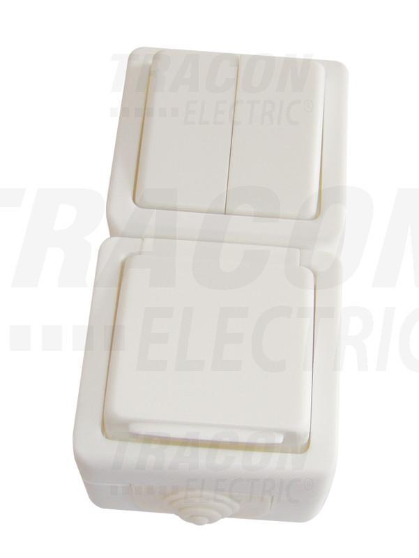 TR-PHF10V Falon kív. 2-áramkörös váltókapcs.+csatl.aljzat,függ.,csapos